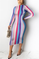 Fashion Long Sleeve Printed Multicolor Dress