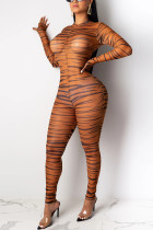 Sexy Fashion Good Elasticity Long Sleeve Round Neck Brown Jumpsuit
