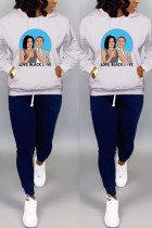Casual Print Pocket Sports Hooded Long Sleeve White Top