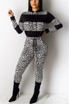 Fashion Casual Leopard Stitching Gray Hooded Two-Piece Suit