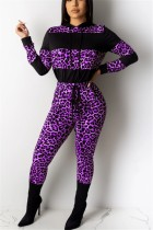 Fashion Casual Leopard Stitching Purple Hooded Two-Piece Suit