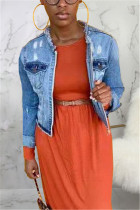 Fashion Sexy Blue Long Sleeve Denim Jacket