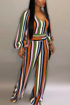 Fashion Casual Bishop Sleeve Multicolor Striped Two Pieces
