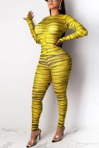 Sexy Fashion Good Elasticity Long Sleeve Round Neck Yellow Jumpsuit
