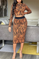 Fashion Sexy Striped Black And Brown Long Sleeve Two-Piece Suit