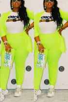 Fashion Casual Autumn And Winter Fluorescent Green Two-Piece Suit