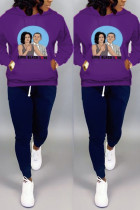 Casual Print Pocket Sports Hooded Long Sleeve Purple Top