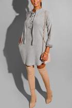 Fashion Casual Loose Temperament Gray Solid Dress