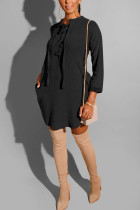 Fashion Casual Loose Temperament Black Solid Dress