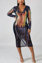 Sexy Trendy Geometric Beaded Sequin Blue Dress