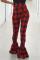 Nightclub Casual Print Slim Red Flared Pants