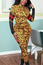 Fashion Casual Stitching Leopard Gold Two-Piece Suit