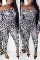 Fashion Sexy Print Leopard White Jumpsuit