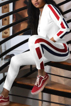 Fashion Trendy Casual Patchwork White Tracksuit