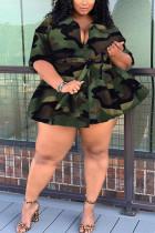 Fashion Turndown Collar Cardigan Extra Large Big Camouflage Bandigan Coat