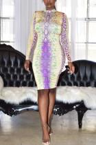 Fashion Casual Multicolor Floral Print Purple Dress