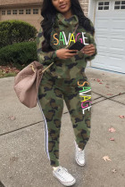 Fashion Sports Hooded Long Sleeve Camouflage Two Piece Suit