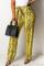 Fashion Casual Yellow Snake Print Wide Pants
