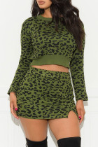 Fashion Sexy Leopard Green Two-Piece Skirt Suit