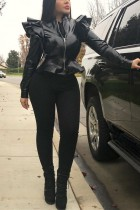 Casual Long Sleeves Zipper Black Leather Jacket