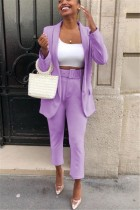 Fashion Autumn And Winter Light Purple Two-Piece Suit (Without Belt)