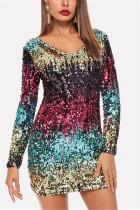 Fashion Sexy Deep V Sequin Multicolor Long Sleeve Dress