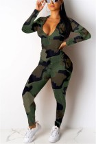 Fashion Hooded Zipper Pocket Camouflage Two-Piece Suit
