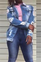 Fashion Casual Letter Print Shredded Blue Long Sleeve Denim Jacket
