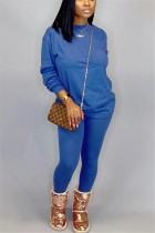 Fashion Casual Loose Blue Two-Piece Suit
