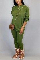 Fashion Casual Loose Green Two-Piece Suit