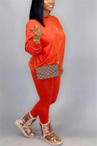 Fashion Casual Loose Orange Two-Piece Suit