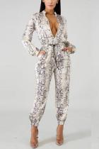 Fashion Snake Print White Two-Piece Suit
