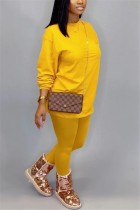 Fashion Casual Loose Yellow Two-Piece Suit