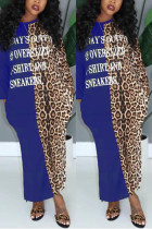 Fashion Casual Leopard Letter Positioning Print Blue Long Sleeve Dress