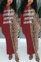 Fashion Casual Leopard Letter Positioning Print Red Wine Long Sleeve Dress