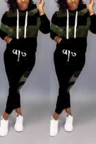 Fashion Patchwork Hooded Long Sleeve Black Camouflage Two-Piece Suit