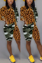 Fashion Leopard Camouflage Stitching Multicolor Two-Piece Suit