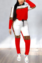 Fashion Casual Stitching Leopard Red Two-Piece Suit