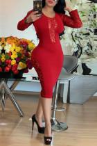 Fashion Sexy Lace Stitching Red Dress