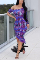 Fashion Sexy Off Shoulder Print Purple Dress