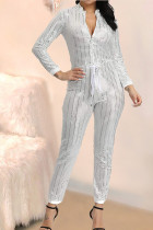 Casual Classic V-Neck Long Sleeve Sequined White Jumpsuit