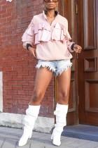 Fashion Flounce Patchwork Pink Jacket Coat