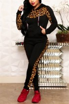 Casual Leopard Stitching Black Hooded Two-Piece Suit