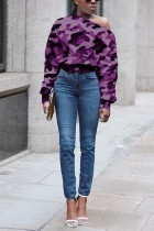 Fashion Casual Printing Purple Long Sleeve Sweater Tops