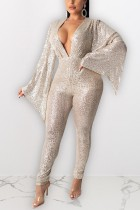 Fashion Sexy White Sequined Wide-sleeved Jumpsuit