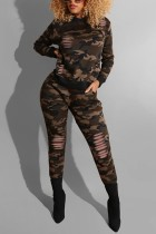 Fashion Casual Camouflage Printing Green Two-piece Set