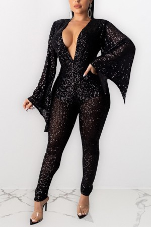 Fashion Sexy Black Sequined Wide-sleeved Jumpsuit