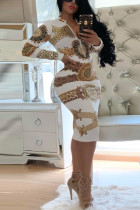 Fashion Printed Zipper White Gold Dress