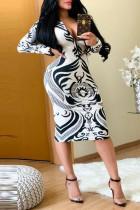 Fashion Printed Zipper White Dress