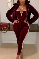 Sexy Long Sleeve Wine Red Bread Down Jacket Coat